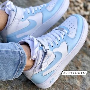 NWT Baby Blue Custom Mids Nike